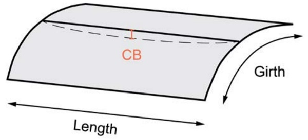 Cross bend (CB) deviation of a curved panel