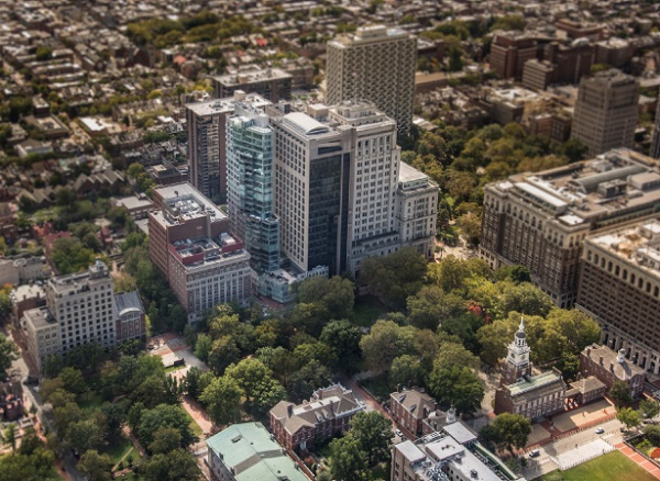 500 Walnut pictured left center in relation to Independence Hall at lower right (Photo © Joe Garvin)