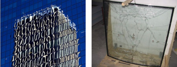 Figure 1 (left): Climatic Loads Causing Pillowing Figure 2 (right): Curved Glass Breakage from Climatic Loads [2]