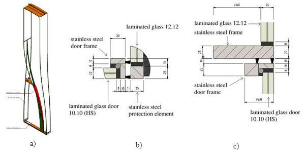 Fig. 13 Technical drawings of the doors with a) the stainless steel frame, b) the horizontal detail of door to side panel and c) vertical top detail of the door.