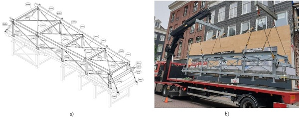 Fig. 15 a)Drawing of the assembly structure on top of the temporary frame in the factory and b) assembly structure on site in horizontal position.