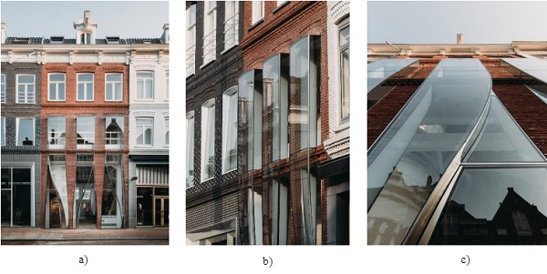 Fig. 1a) Front view of P.C. Hooftstraat 138 facade, b) Detail view of cantilevering glass box and c) Upward directed view. © Evabloem.