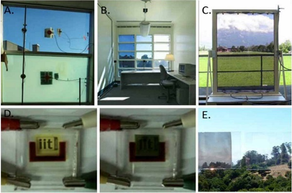 Figure 2. View of different smart glazing technologies: A) thermo-tropic, B) electro-chromic, C) Fluidglass, d) Photo-Volta-Chromic, e) Tunable Visible-Infrared Reflector