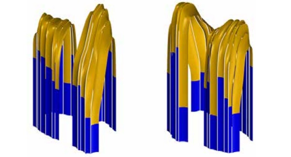 Figure 2 the surfaces are split into the geometric types based on the Gaussian curvature corresponding to increasing level of complexity: half of the area is generated with rotational cylinders (blue) and the rest is a free-form double curved surface (gold).