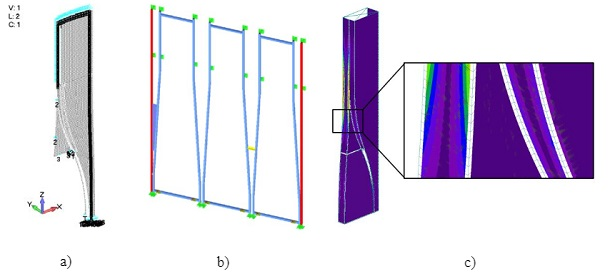 Fig. 4a) Model of front panes, b) Model of steel frame only, and c) Model of combination of glass geometry and steel sections.